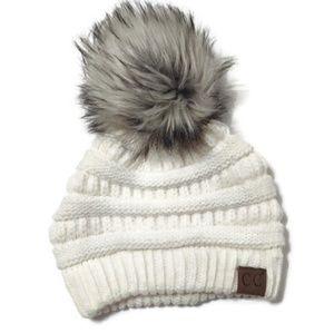 CC Boutique White Beanie with Fur Pom Pom